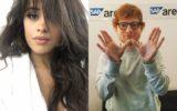 montagem com fotos de Camila Cabello e Ed Sheeran