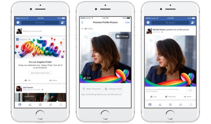Celular no feed do facebook mostrando filtro para foto de perfil com fita de arco-íris