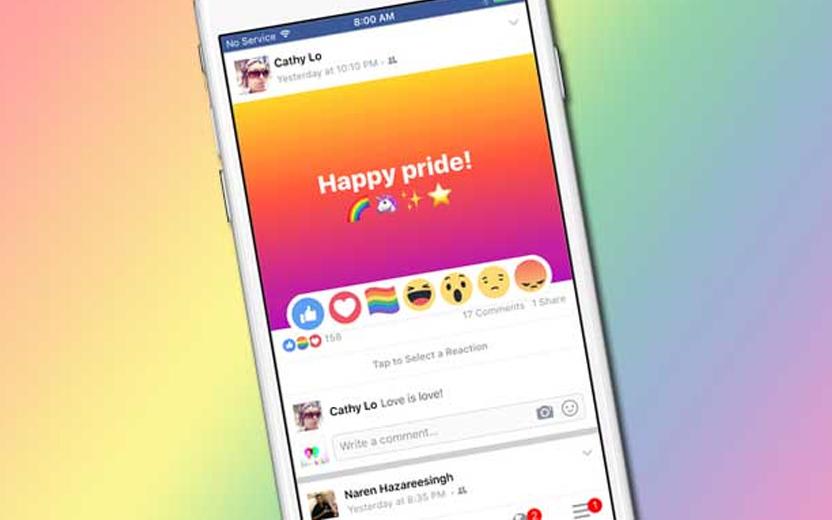 celular exibindo feed do facebook com reação de bandeira de arco-íris