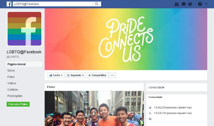 Página Orgulho LGBTQ