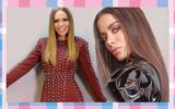montagem com solange almeida usando vestido vermelho e cabelos loiros e compridos ao lado de anitta, com blusa preta e cabelos castanhos e compridos