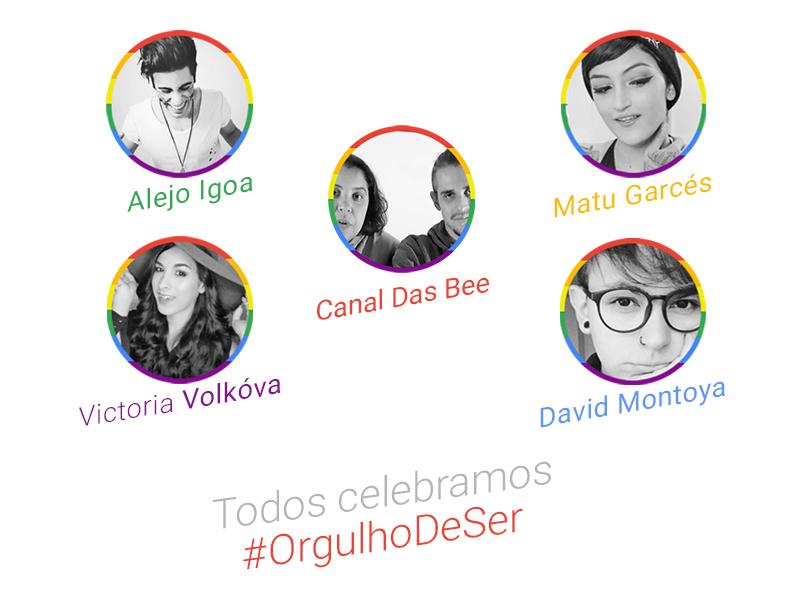 fotos dos youtubers que participarão da campanha #OrgulhoDeSer
