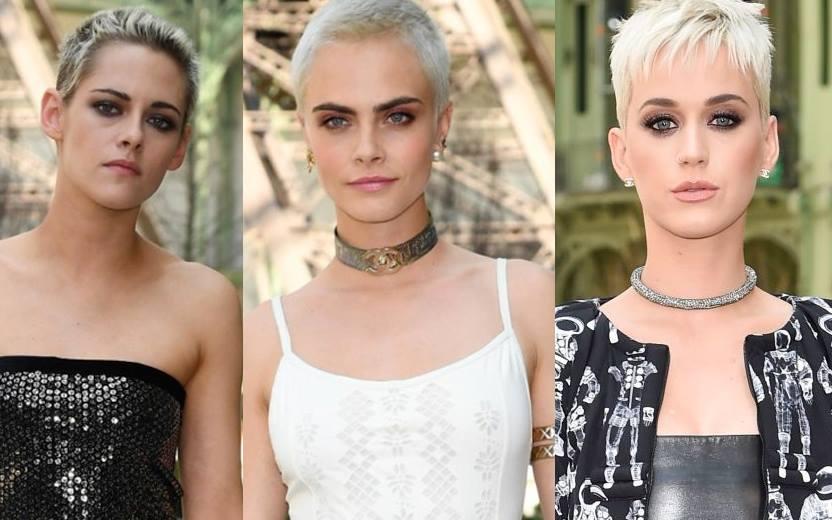 montagem com Kristen Stewart, Cara Delevingne e Katy Perry