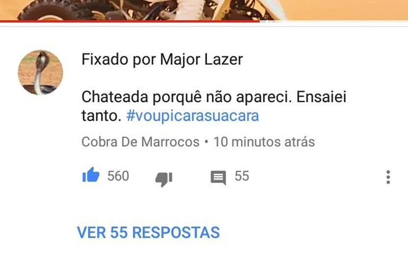 """print de comentário de uma cobra no vídeo de sua cara falando """"ensaiei tanto e não apareci #voupicarasuacara"""""""