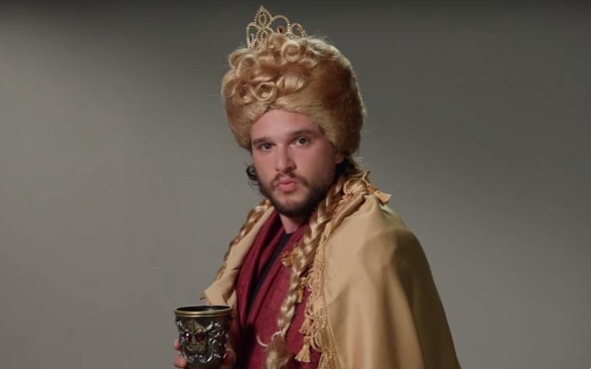 Kit Harington (Jon Snow) fazendo audição para Cersei, Hodor e outros personagens de GoT
