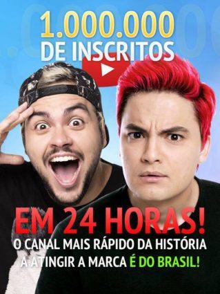 Luccas Neto e Felipe Neto em banner sobre os 1.000.000 de inscritos em 24 horas no canal do YouTube