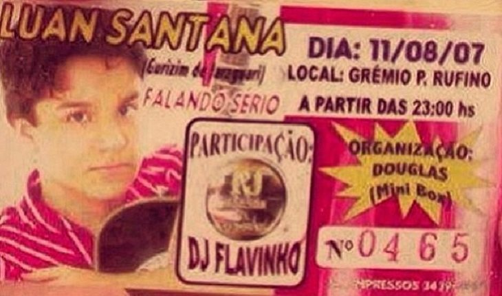 o primeiro ingresso para o primeiro show da carreira do Luan Santana