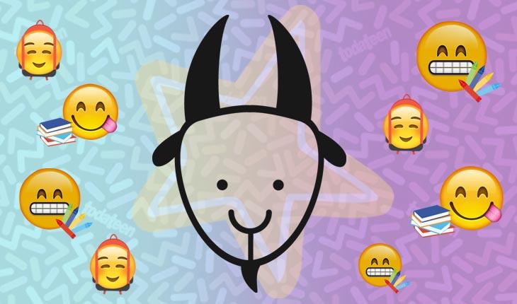 Imagem do signo de Áries com emojis referentes à escola