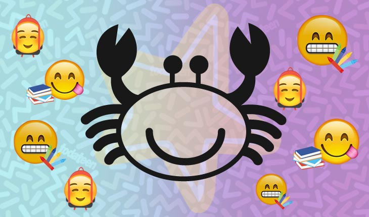 Imagem do signo de Câncer com emojis referentes à escola