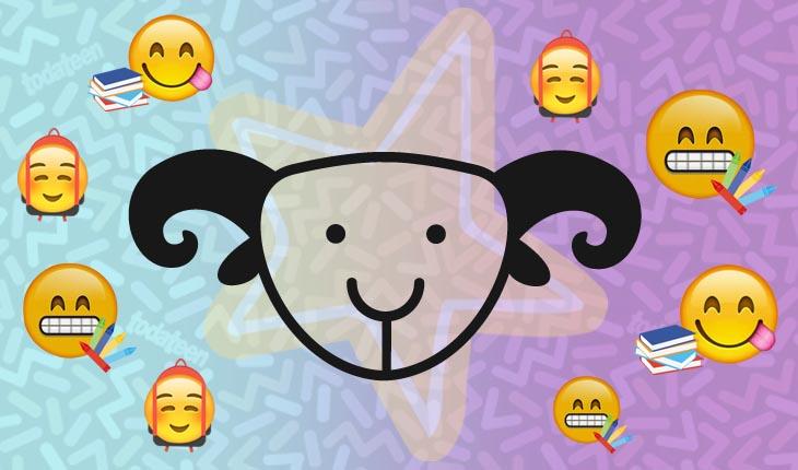 Imagem do signo de Capricórnio com emojis referentes à escola