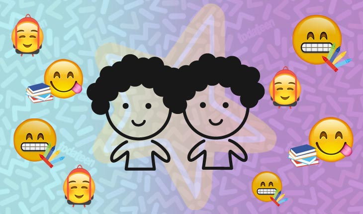 Imagem do signo de Gêmeos com emojis referentes à escola