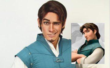 Homem vestido de personagens da Disney