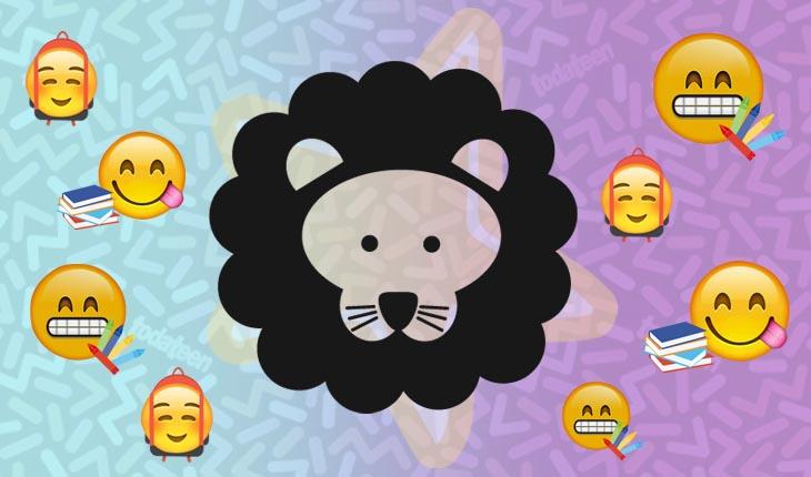 Imagem do signo de Leão com emojis referentes à escola
