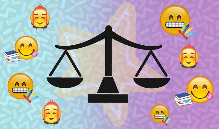 Imagem do signo de Libra com emojis referentes à escola