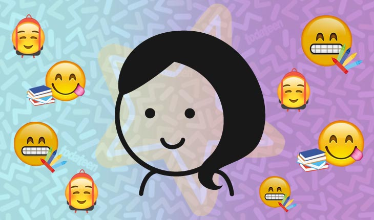 Imagem do signo de Virgem com emojis referentes à escola