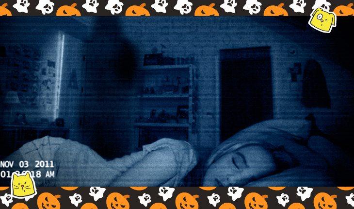Montagem com o filme de terror atividade paranormal