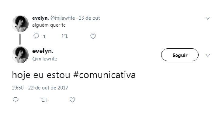 tweet de pessoa comunicativa