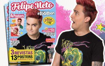 Felipe Neto com a capa da revista Hashtag todateen