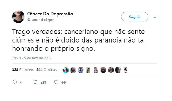 tweets escritos por pessoas de câncer
