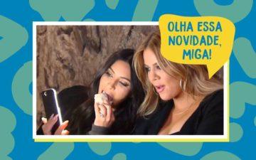 Kim Kardashian e Khlóe Kardashian usando Instagram stories