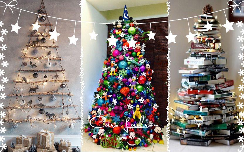 Montagem com três árvores de Natal