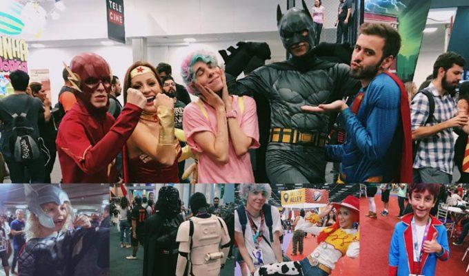 Erick Mafra com cosplays na Comic Con