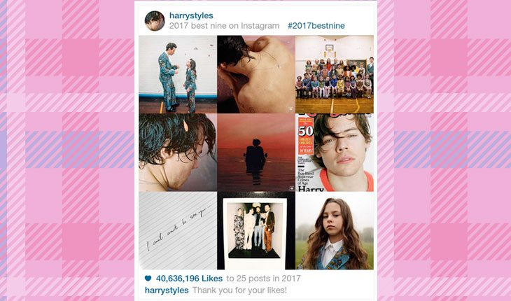 fotos mais curtidas no Instagram de Harry Styles