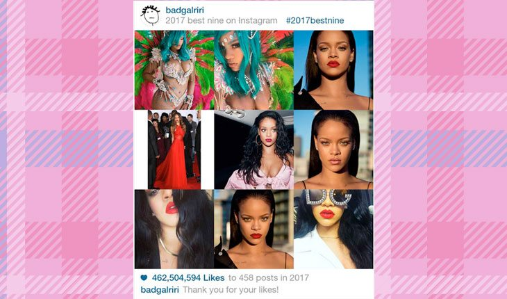 fotos mais curtidas no Instagram de Rihanna