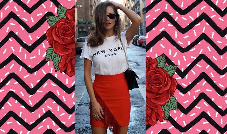 Menina com saia de tubinho vermelha