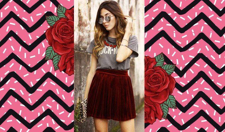 Menina vestindo saia de veludo vermelha