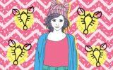 Menina no signo de câncer com os símbolos que representam o signo