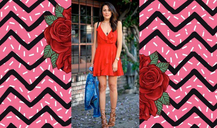Garota com vestido vermelho