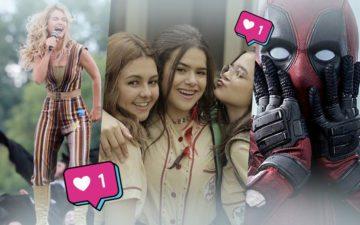 Montagem com Klara Castanho, Mel Maia e Maisa, Deadpool e Mamma Mia
