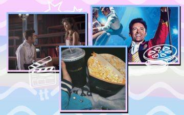 Montagem com imagens de O Rei do Show e foto de pipoca