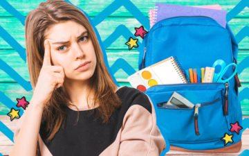 Menina pensando em como será a organização da sua mochila