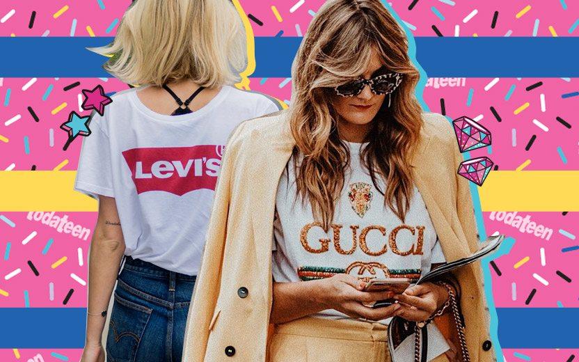 Montagem com mulheres vestindo logomarcas