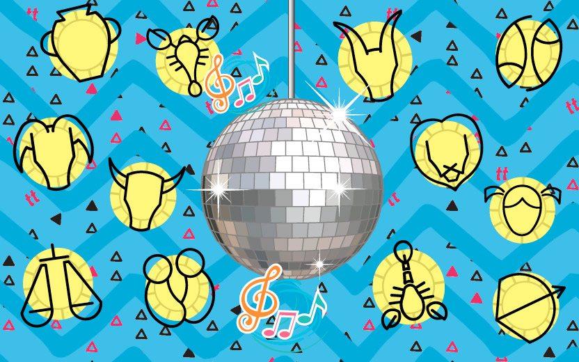 Signos na balada: montagem com um globo de balada