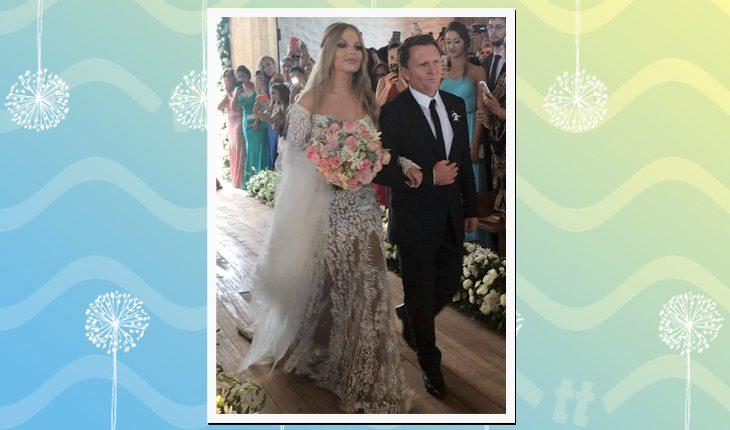 O casamento de Whindersson Nunes com Luísa Sonza: noiva entrando com o pai