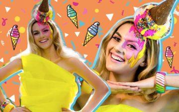 Montagem com duas fotos de uma menina loira com a make de sorvete
