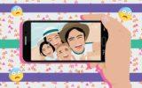 Foto de pais e filhos mostrando como age a família nas redes sociais