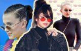 Millie Bobby Brown, Selena Gomez e Gigi Hadid usando minióculos de sol