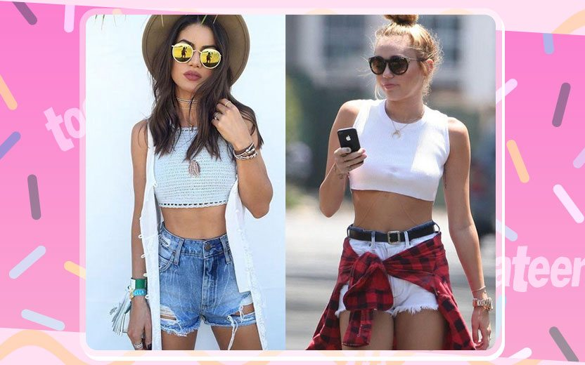 Looks de top cropped com shorts
