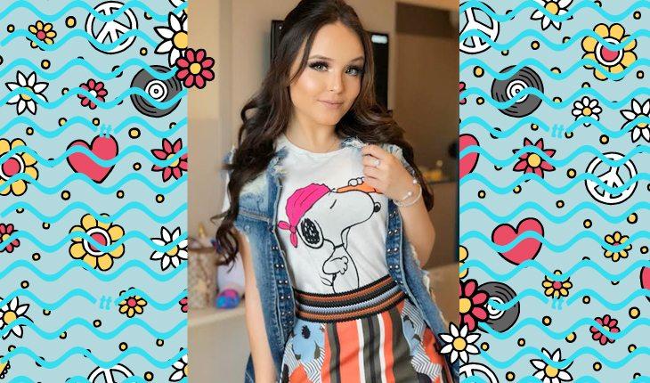 Lições de moda com Larissa Manoela: Larissa usando blusa do Snoopy