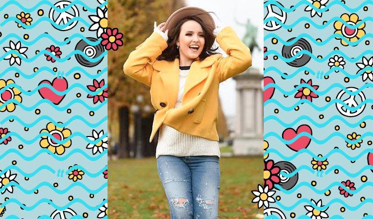 Larissa Manoela: Larissa usando jaqueta amarela
