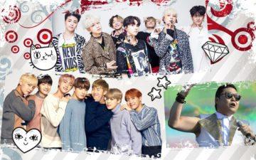 K-Pop no Brasil: vários grupos de K-Pop reunidos em uma montagem