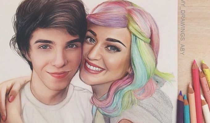 Erick Mafra desenhado ao lado da ídola mostrando todo seu amor pela Katy Perry