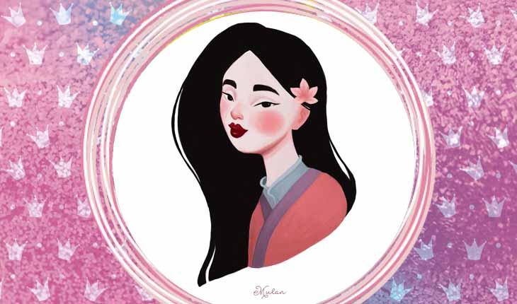 ilustrações das princesas Disney: Mulan