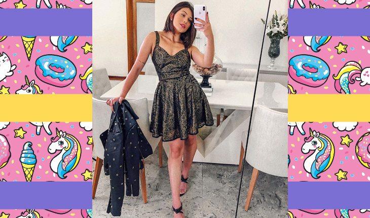Flavia Pavanelli com vestido rodado