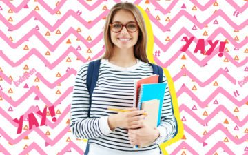 garota organizada com livros na mão