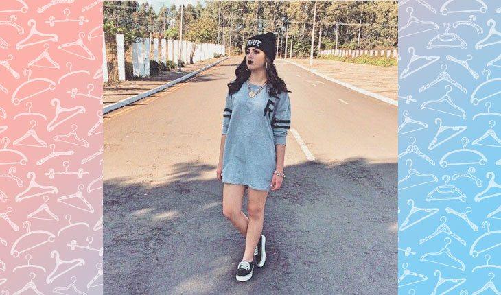 3068fea7a06fb Também dá para usar vestido swag! É só escolher um modelo que imite uma  camiseta de moletom
